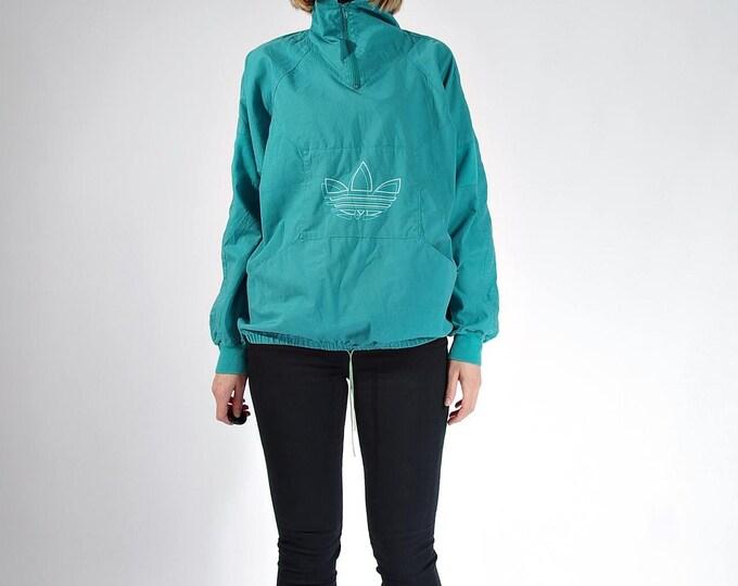 Featured listing image: 20% OFF SALE - 80s Adidas Oldschool Trefoil Cotton Canvas Boyfriend Fit Half Zip Sweatshirt / Size S/M/L