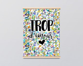 Love Poster French Illustration Watercolor - Mother's Day / Gift for Mom - Artprint - Watercolor illustration - Interior Decoration