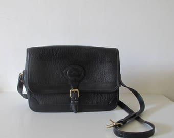 """Vintage Dooney & Bourke Black all leather bag cross body, shoulder bag 11"""""""
