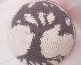 Tree of Life Cotton Silk Bamboo Blend Crocheted Kippah Summer Yarmulke Frik Kippah