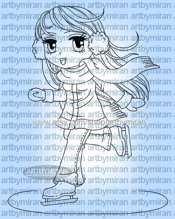 Digital Stamp - Ice Skater Macy(#151), Christmas Digi Stamp, Coloring page, Printable Line art for Card and Craft Supply