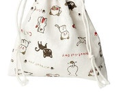 """Cotton & Linen Cloth Jewelry Bags Drawstring Off-white Cat Pattern - 6 2/8"""" x 5 4/8"""""""