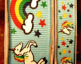 """2 Yards 3/8"""" or 7/8"""" Whimsical Coordinating Unicorns and Rainbows on Blue Grosgrain Ribbon - US DESIGNER"""