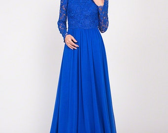 Long Sleeve Blue Evening Dress with Rhinestone Neckline - Lace Tulle Evening Dress with Peplum - Lace Tulle Maxi Dress - C03