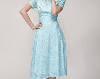 Long Sleeved White Lace Chiffon Dress / Little White Dress /