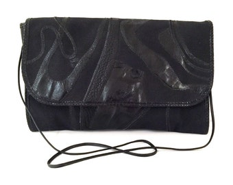 Vintage Carlos Falchi Black Purse - Black Carlos Falchi Purse - Carlos Falchi Handbag - Carlos Falchi Black Canvas and Leather Handbag