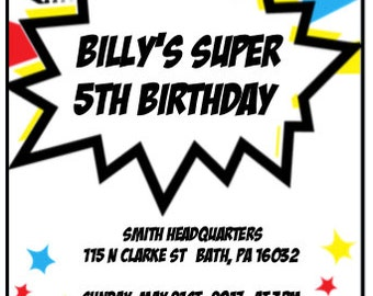 Superhero Themed Party Invitation (Digital)