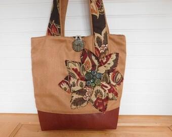 Womens Tote Bag for Work, Tote Handbag, Shoulder Bag for Women, Work Tote, Fabric Tote Bag, Everyday Messenger Bag, Fabric Handbag Floral