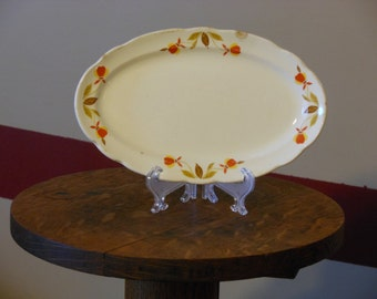Hall's Superior Quality Oval Relish Plate--Autumn Leaf Pattern
