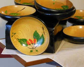 Set of Eight Black Wooden Yugoslavian Snack Bowls. Wild strawberry pattern.
