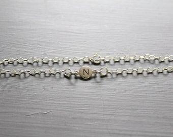 Sterling Silver Simple N Initial Bracelet, Silver Stamped N Bracelet, Stamped N Initial Bracelet, Small N Initial Bracelet, N Bracelet