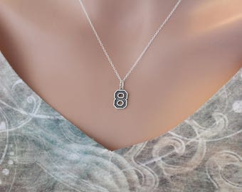Sterling Silver Number Eight Charm Necklace, Oxidized Sterling Silver Number Eight Necklace, 8 Necklace, Number 8 Charm Necklace