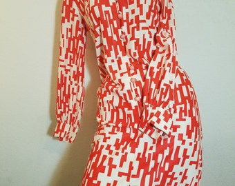FREE  SHIPPING 1970 Abstract Geometric Dress