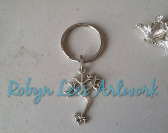 Silver Neuron Brain Keyring on Silver Split Ring. Anatomy, Anatomical, Biology, Gothic, Science, Doctor