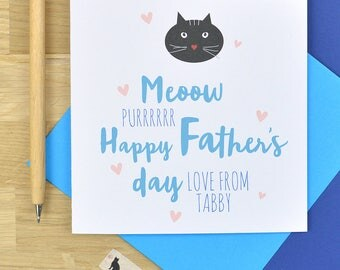 Personalised Father's day card from the cat, from the cat Fathers day card for Dad - square