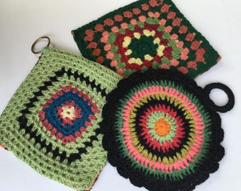 Trio of Vintage Handmade Crochet Pot Holders