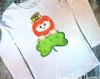 Leprechaun with clover appliqué embroidery design - Saint Patricks Day appliqué design - leprechaun appliqué design - clover appliqué design