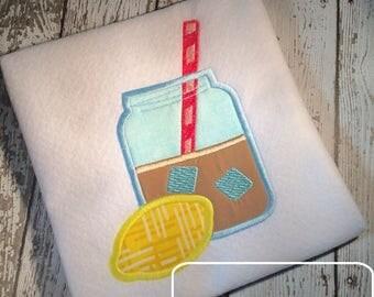 Lemonade or Iced tea appliqué embroidery design - Lemonade appliqué design - Iced tea appliqué design - sweet tea appliqué design - summer