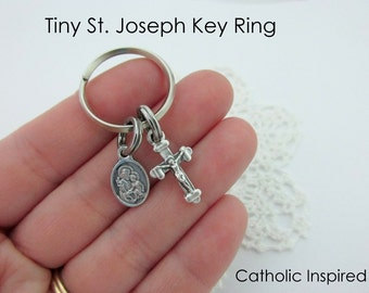 St. Joseph Key Ring Charm Medal - Crucifix Chain Split Ring Lightweight Tiny Zipper Pull - Men Women Teens Children
