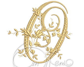 MACHINE EMBROIDERY DESIGN - Victorian Letter О embroidery, Victorian alphabet embroidery, Antique alphabet embroidery, Monogram embroidery