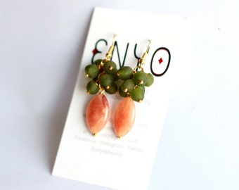 Carnelian Earrings, Olive Green Orange, Gemstone Jewelry, African Earrings, Cluster Earrings, Ghanaian Beads, Recycled Glass, Ethnic Jewelry