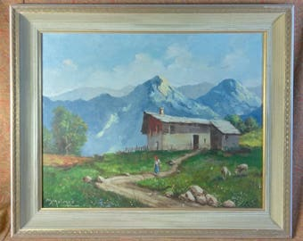 Old Vintage Italian Landscape Oil Painting Italy Sheep Mountains by Mario Molmar