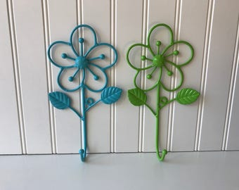 Vintage Flower Wall Hooks, Painted Metal Flower Hanger, Blue and Green, Decorative Key Hook, Single Hook, Cottage Chic, Garden Decor