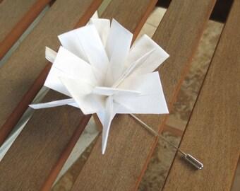 Custom Handmade Wedding Boutineer, Origami Boutonniere, Lapel Pin Boutineer, Groom, Groomsman