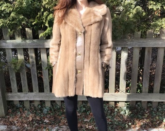 Women's 1970's Tan Faux Fur and Leather Boho Jacket Size Small/Medium