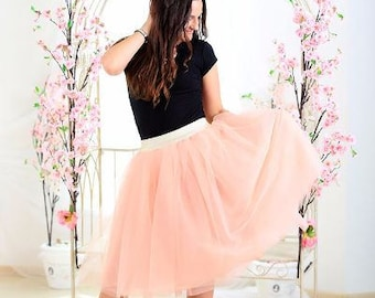 Prom skirt Homecoming dress Peach tulle skirt woman date skirt outfit tulle skirt shabby chic skirt engaged photo dress prom dress