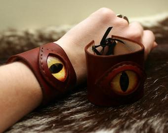Light Brown Leather Wrist Cuffs/Bracelets with Dragon Eyes
