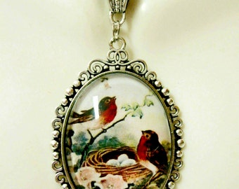 Red birds on a nest pendant with chain - BAP09-032
