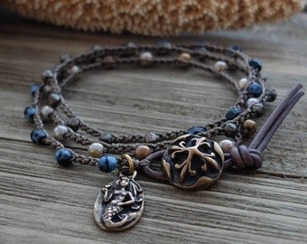 Mermaid Charm Bracelet, Beach Boho Wrap Bracelet, beaded crochet earthy 3 wrap bracelet, beach jewelry, bohemian stacker by Boho and Indigo