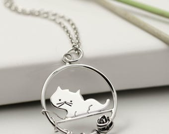 Sterling Silver Cat Necklace - Playful Cat & Ball of Wool - Cat Jewellery