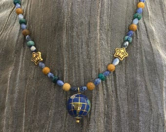 "necklace ""Terra Firma"" Globe pendant, Jasper, Sodalite, Azurite Malachite, Earth Day, Reiki Charged, Earth Jewelry, Earth Mother, Bohemian"