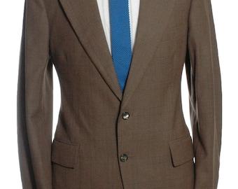 Vintage 1970's Alexandre Brown Check Wool Suit 38 S - www.brickvintage.com