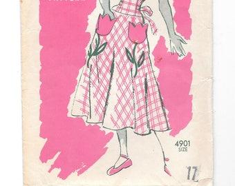 1940s Summer DRESS ~ Vintage Sewing Pattern ~ Anne Adams 4901 ~ Size 17 Bust 35 Waist 29 ~ Tulip Pockets ~ RARE ~ Garden Party Dress