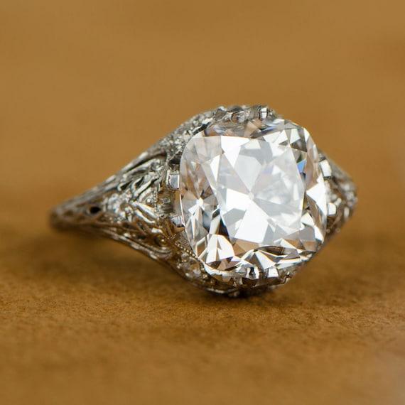4 Carat Art Deco Antique Cushion Cut Platinum Engagement Ring