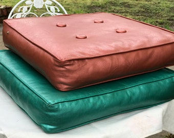 Set of 2 Button Tufted Vinyl Midcentury Seat Chair Cushions Floor Pillows/1950s 60s/Aqua Green/Rosy Pink Mauve/17.5 inches Square/Modern