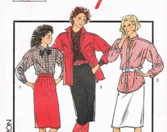 Vintage Retro Sewing Pattern - Lady's Girl's Knee Length Skirt Blouse Shirt Jacket - Style 4789 - Size 8 - 14 in English French