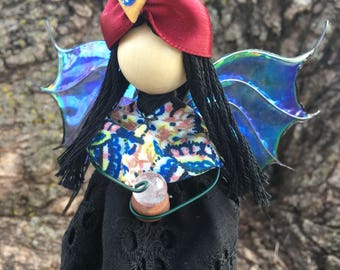 ON SALE, Halloween Witch, Fortune Teller, Crystal Ball, Gypsy, Sorceress, Ouija Board, Scrying, Fairy Wings, Magic Spell, Turban,  Art Doll