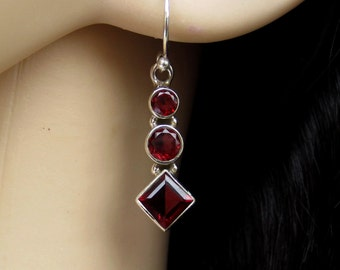 Garnet Silver Earrings, Red Garnet Jewelry, January Birthstone, Gift for Her