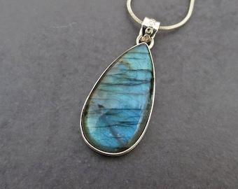 Teardrop Labradorite Pendant, Labradorite Silver Pendant Necklace, Labradorite Jewelry, Wiccan Jewelry , Gift for Her