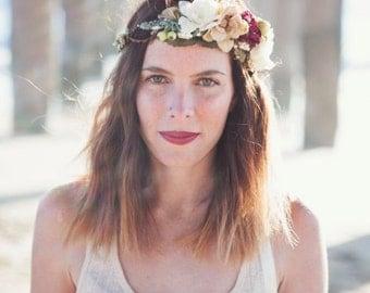 Dusty Teal, Warm Beige & Burgundy Flower Crown - Bridal Flower Crown- Photo Prop - Engagement Photos - Flower Girl Halo - Boho Bride