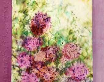 Original Contemporary art Hollyhocks flowers Painting on textile Abstract modern Impressionism Wall decor painted Interior Pink Red Green