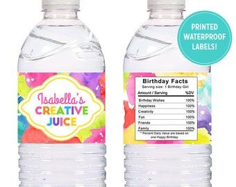 Custom Art Birthday Party labels - 15 Printed Self adhesive WATERPROOF water bottle labels, wraps - Artist party