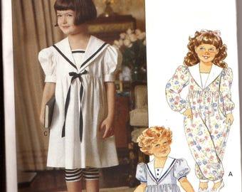 Rare Girl Sailor Dress, Bloomer Jumpsuit, Leggings Vintage Pattern / Little Vogue 7764 / Size 1-2-3 / UNCUT