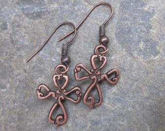 cross earrings bohemian  earrings simple copper earrings  boho earrings religious earrings Lavish Lucy Designs dangle earrings southwestern