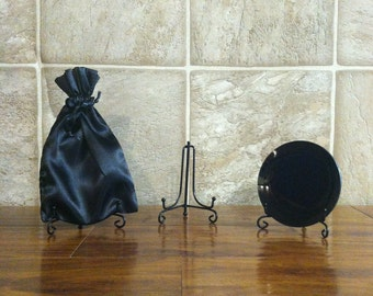 Travel Size Small Concave Black Glass Scrying Mirror with Stand and Satin Pouch