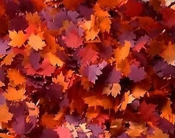 Fall confetti Dark Autumn shadows Maple leaves Wedding throwing table confetti - Biodegradable